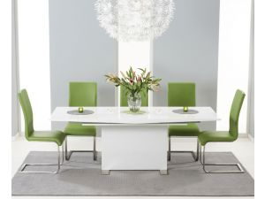 Marila 150cm White High Gloss Extending Dining Table With 6 Malibu Green Chairs