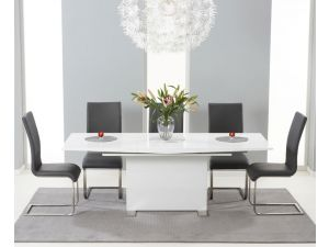Marila 150cm White High Gloss Extending Dining Table With 6 Malibu Grey Chairs