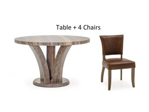 Amalfi 125cm Round Grey Marble Dining Table + Duke Leather Chairs