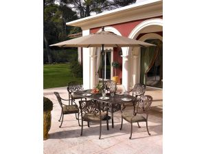 Hartman Amalfi 6 Seater Bronze Garden Furniture Set with Cushions, Parasol And Base