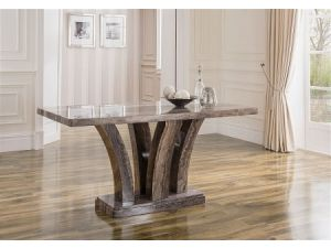 Amalfi 160cm Pearl Grey Marble Dining Table