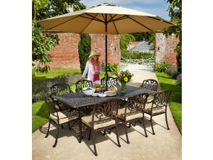 Hartman Amalfi 8 Seater Bronze Garden Furniture Set with Cushions, Parasol And Base