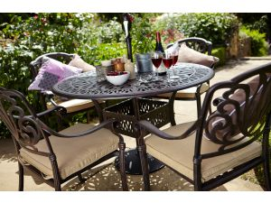 Hartman Amalfi 4 Seater Bronze Garden Furniture Set with Cushions, Parasol And Base