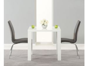 Ava 80cm High Gloss Dining Table With 2 Carsen Grey Leather Chairs