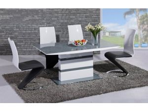Arctic Grey and White High Gloss Fixed Top Dining Table and 6 Leona Z Chairs