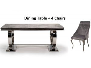 Arianna 180cm Rect. Grey Marble Table + Cassia Chairs