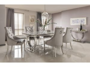 Arianna 200cm Grey Marble Dining Table And 8 Belvedere Silver Velvet Chairs