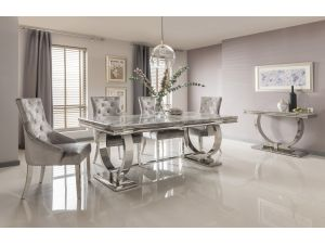 Arianna 180cm Grey Marble Dining Table And 4 Belvedere Silver Velvet Chairs