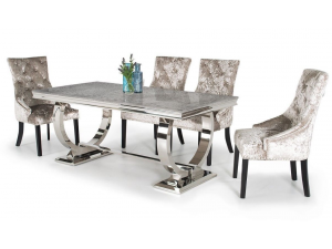 Arianna 180cm Grey Marble Dining Table And 4 Eden Chairs