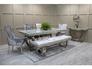 Arianna 180cm Rect. Grey Marble Table + 4 Belvedere Chairs + Bench