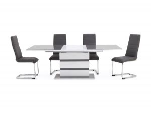 Fairmont Armano Ext Grey High Gloss Dining Table + 6 Hugo Chairs