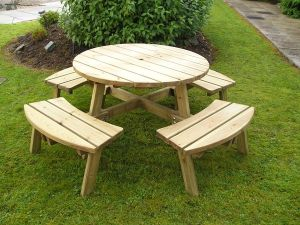 Athol 8 Seater Round Compact Picnic Table
