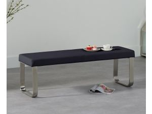 Ava 180cm Black Faux Leather Large Bench
