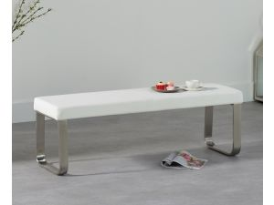 Ava 160cm White Faux Leather Medium Bench