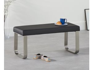 Ava Black 120cm Faux Leather Small Bench