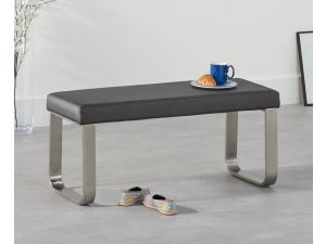 Ava Grey 120cm Faux Leather Small Bench