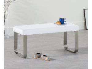 Ava White 120cm Faux Leather Small Bench