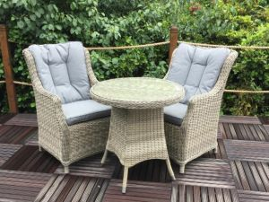 Royalcraft Wentworth 2 Seat Bistro Rattan Set with 2 Comfort Chairs