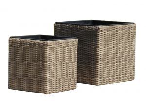 Royalcraft Square Natural Rattan Set Of Two Planters