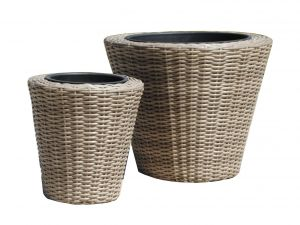Royalcraft Round Natural Rattan Set Of Two Planters