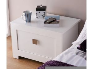 Bari White High Gloss Nightstand Bedside Cabinet