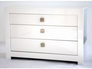 Bari White High Gloss 3 Drawer Wide Chest