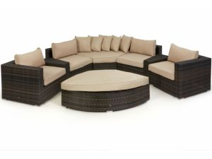 Maze Deluxe Barcelona Rattan Corner Sofa Set - Brown