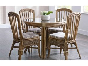 Cane Bari Round 4 Seater Dining Set
