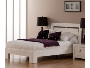 Bari 3ft Single White High Gloss Bed