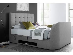 Barnard 6ft Super Kingsize Artemis Light Grey Ottoman Storage Fabric Tv Bed