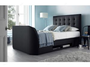Kaydian Barnard 4ft6 Double Black Leather Tv Ottoman TV Storage Bed