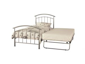 Serene Mercury 2ft6 Small Single Silver Metal Guest Bed