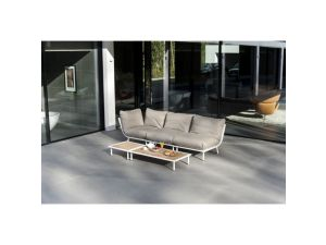 Alexander Rose Beach Lounge White Mesh Steel Sofa With Roble Coffee Table