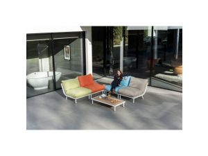 Alexander Rose Beach Lounge White Mesh Steel Aluminium Top Corner Sofa Set