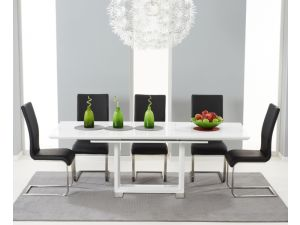 Beckley 160cm Solid Wood Dining Table With 6 Malibu Black Leather Chairs