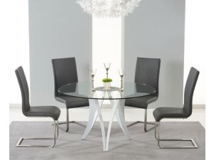 Bellevue 130cm Round Glass Dining Table With 4 Malibu Grey Leather Chairs