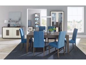 Bentley Designs City Soft Grey and Oak 6-8 Dining Table + 4 Blue Taper Chairs