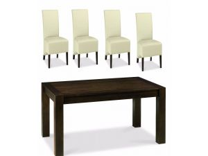 Bentley Designs Lyon Walnut 6-8 End Ext. Table & 6 Ivory Leather Wing Back Chairs