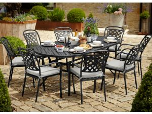 Hartman Berkeley 6 Seater Oval Black Garden Set With FREE Cushions, Parasol and Base