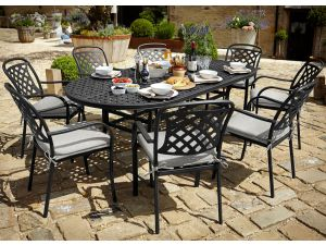 Hartman Berkeley 8 Seater Black Cast Aluminium Garden Set