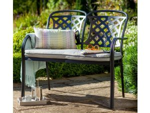Hartman Berkeley 2 Seater Black Cast Aluminium Bench with Cushion