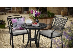 Hartman Berkeley 2 Seater Black Cast Aluminium Bistro Set with Cushions