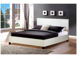 Birlea Berlin 4ft Small Double White Leather Bed