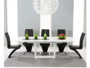 Beckley 160cm Solid Wood Dining Table With 6 Hereford White Leather Chairs