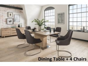 Bremen Natural Ext. Dining Table + Urbino Dining Chairs