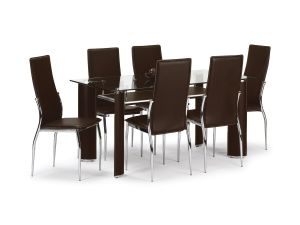Julian Bowen Boston Glass Dining Set Table + 6 Brown Leather Chairs