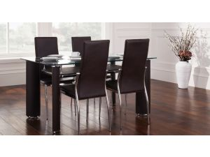 Julian Bowen Boston Brown Leather Glass Dining Set Table + 4 Chairs