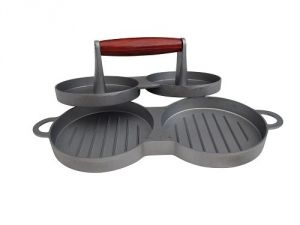 Leisuregrow Grillstream Gourmet Grey Metal Double Burger Press