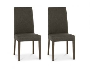 Bentley Designs Miles Walnut Taper Back Black Gold Fabric Chairs (Pair)