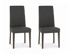 Bentley Designs Miles Walnut Taper Back Cold Steel Fabric Chairs (Pair)